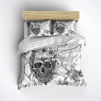 Lightweight Silver Skull Bedding - Black and White Sugar Skull Design, Comforter Cover, Sugar Skull Duvet Cover, Sugar Skull Bedding