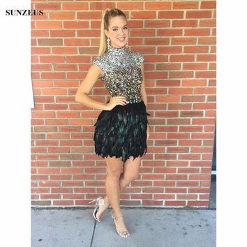 Feathers Short Cocktail Dresses Cap Sleeves High Neck Rhinestones Sequins Beaded Party Dresses For Teens Robe De Cocktail SAU574