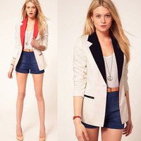 Simple Brief Design Women Blazer Spring Fall Coat Jacket Ladies Business Office Wear Suit Handmade Clothing S M L WC269