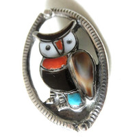 Vintage Zuni Sterling Silver Owl Brooch Turquoise Onyx Coral MOP 1970s Native American
