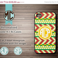 ON SALE iPhone 4 Case - Aztec iPhone case - Monogram iPhone case - iPhone 4s case - Aztec pattern iPhone cover - MC025