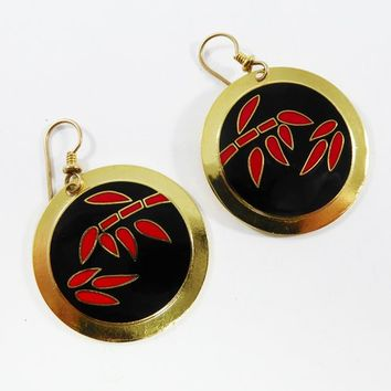 Laurel Burch Black and Red Leaf Earrings for Pierced Ears Red Bamboo Leaves Fish Hook Wires, Round Flat Circles Vintage 1980s MOD Pop Art