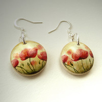 Wooden Poppy Earrings - Drop Earrings - Watercolor Painting - Aquarelle   - Hand Painted Jewelry - Special Gift for Christmas
