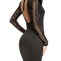 Long SleeveV-neck Backless Mini Bodycon Dress with Lace Accent