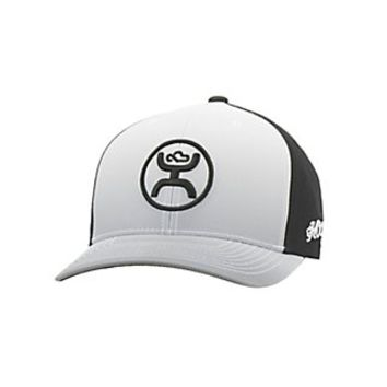 HOOey White Faded with Black Logo Snap Back Cap