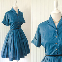 vintage 1950s peacock blue polished cotton shirtwaist dress bombshell cuff sleeves // full pleated skirt pinup // size S