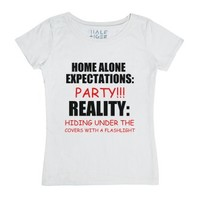 Home Alone Expectations-Female White T-Shirt