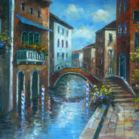 Arched Bridge Over Canal I Canvas Wall Art