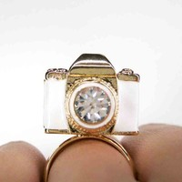 SALE Click Click Snap Snap - Adjustable White and Gold Camera Ring | dotoly - Jewelry on ArtFire