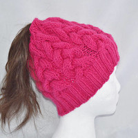 Messy Bun Beanie, Ponytail Beanie, Hand Knit Bun Hat, Messy Bun Hat, Ponytail Hat, Cable Hat, Valentines Day Gift Idea