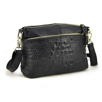 Women Genuine Leather Small Shoulder Handbag Cross Body Bag Crocodile Alligator Pattern Purse Fashion Casual Pouch Lady Hobo