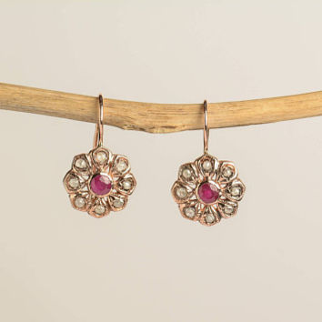 Ruby Earrings Flower Shaped Rose Cut Diamonds Vintage Style Drop Earrings in 14K Rose Gold Wire back with hook and lever