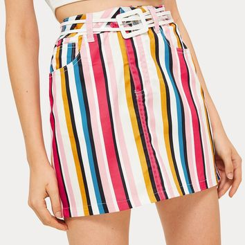 Colorful Vertical Stripe Print Pockets Mini Skirt