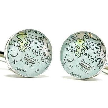 Athens Greece Antique Map Cufflinks