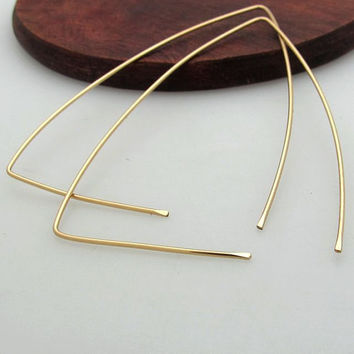 Gold Triangle Hoop Earrings Large From Nadinartdesign On Etsy