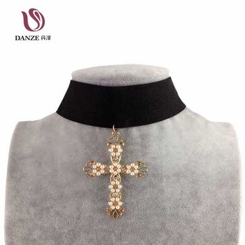 DANZE Black Baroque Cross Pendant Choker Necklace for Women Velvet Simulated  Pearl + Chocker Shape Collier Femme Maxi Jwelry