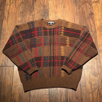 Vintage Thornton Bay Brown Plaid Shetland Wool Rustic Sweater Made in England Menswear Mens Size L Large