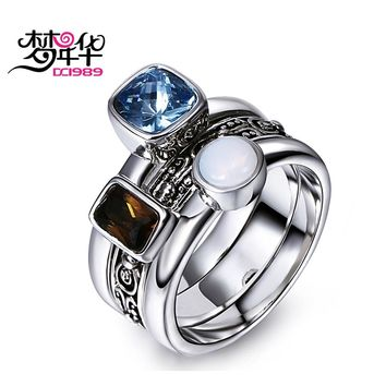 Dreamcarnival1989 Unique Antique Ring For Women Vintage Jewelry Detachable Bagues Blue Brown White Zircon Anillos Mujer Ringen