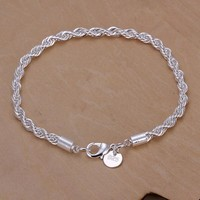 Silver Plated Chain Exquisite Twisted Bracelet