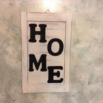 Rustic Farmhouse HOME Sign, Shabby Chic Whitewashed Wooden Shutter, Hanging Wall Decor for Living Room, Entryway, Kitchen or Dining Room