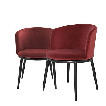 Mid-Century Red 2 Dining Chairs | Eichholtz Filmore