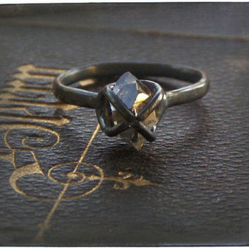BETROTHED. Handmade Goth Engagement Ring Herkimer Diamond, Oxidize Sterling Silver. Dark Beauty rustic wedding organic eco friendly Wedding