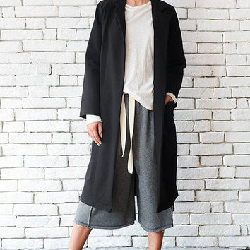 Black Loose Coat/Oversize Long Jacket/Long Collar Top/Black Maxi Tunic/Plus Size Black Coat/Long Sleeve Cardigan/Comfortable Black Jacket