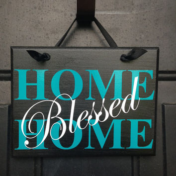 Home Blessed Home Door Sign - House Warming Gift - Home Blessing Wall Sign