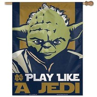 "NOTRE DAME FIGHTING IRISH PLAY LIKE A JEDI YODA 27""X37"" BANNER FLAG NEW WINCRAFT"