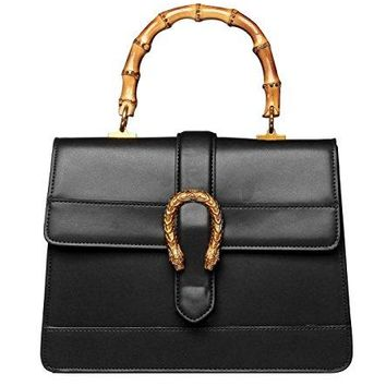 Actlure Women Genuine Cowhide Leather Bamboo Top Handle Bag