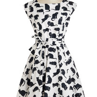 ModCloth Cats Long Sleeveless A-line If I Cat Have You Dress