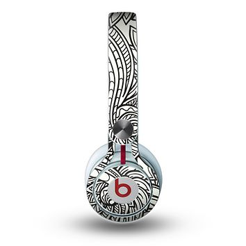 The Black & White Vector Floral Connect Skin for the Beats by Dre Mixr Headphones