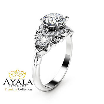 Diamond Engagement Ring 18K White Gold Diamond Ring Vintage Style Engagement Ring By Ayala Jewelry