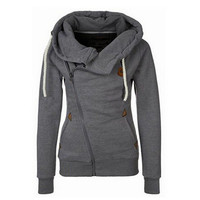 Women Gray Hoodie Zip Parka Trench Outwear Tracksuit Sweatshirt Jumper Pullover Lady Coat Jackets Gift 25