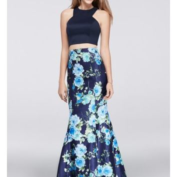 Crop Top and Floral Mermaid Two-Piece Dress - Davids Bridal
