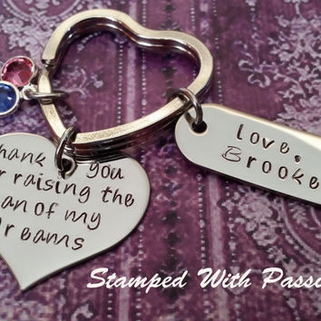 Personalized Hand Stamped Key Chain - thank you for raising the man of my dreams - Wedding - Gift Mother In Law - Mother of the Groom  - Mil