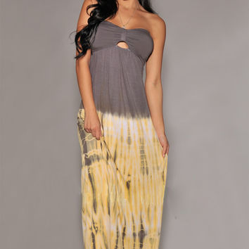 Grey and Yellow Strapless Maxi Dress