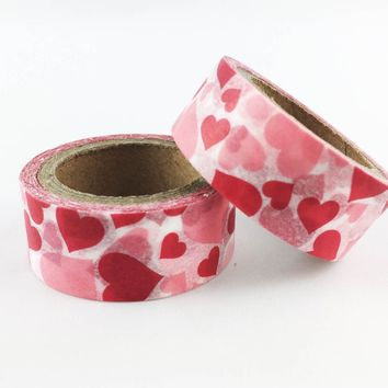 Pink red & white heart print 15mm washi tape / 5M