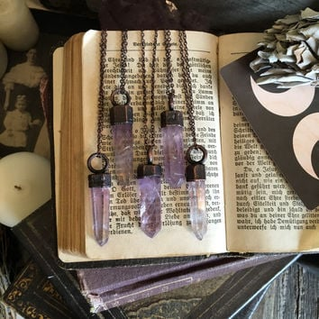 Amethyst Necklace Purple Crystal Necklace Crystal Wand Pendant Copper Electroformed Rough Stone Necklace  Boho Gypsy Necklace Natural Long