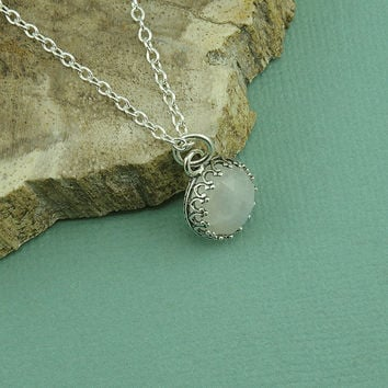 SMALL Moonstone Necklace - sterling silver bezel set moonstone pendant, gemstone necklace