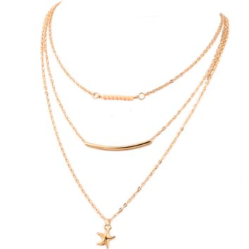 Starfish necklace multi - layer clavicle chain bead necklace