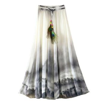 CREYET7 2017 Summer Bohemian Long Skirt Chiffon Vintage Faldas Largas Elegant Print Saia Longa Ladies Casual Maxi Skirts Women Clothes