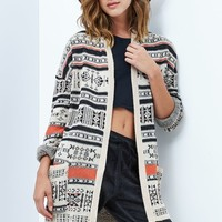 Billabong Tribal Trek Open Front Cardigan - Womens Sweater - White