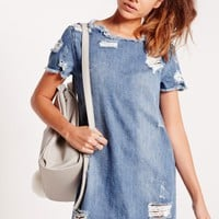 Missguided - Denim T-Shirt Dress Indigo