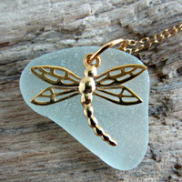 gold dragonfly and seafoam sea glass necklace, 14k gold filled chain, Hope, strength, power and poise