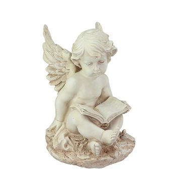 "12"" Heavenly Gardens Distressed Ivory Sitting Cherub Angel with Book Outdoor Patio Garden Statue"