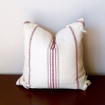 Primative Stripe Red Natural Decorative Pillow Farmhouse French Country Sofa Cushion