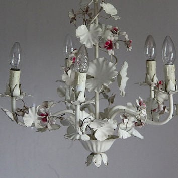 Large French Tole Chandelier Shabby Chic Ceiling Fitting Floral Toleware