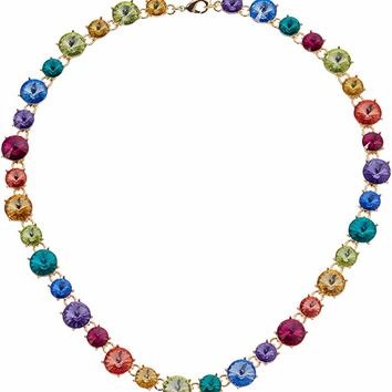 Women's Gold/Multi Rainbow Stone Collar Necklace