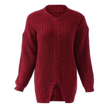 Retro Style V-Neck Long Sleeve Cable-Knit Solid Color Sweater For Women